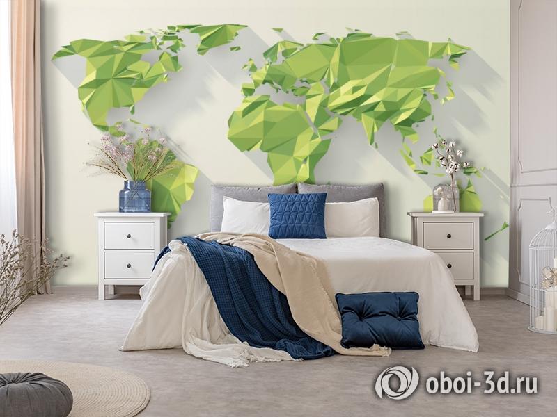 3D Фотообои «Зеленые континенты из полигонов» вид 5