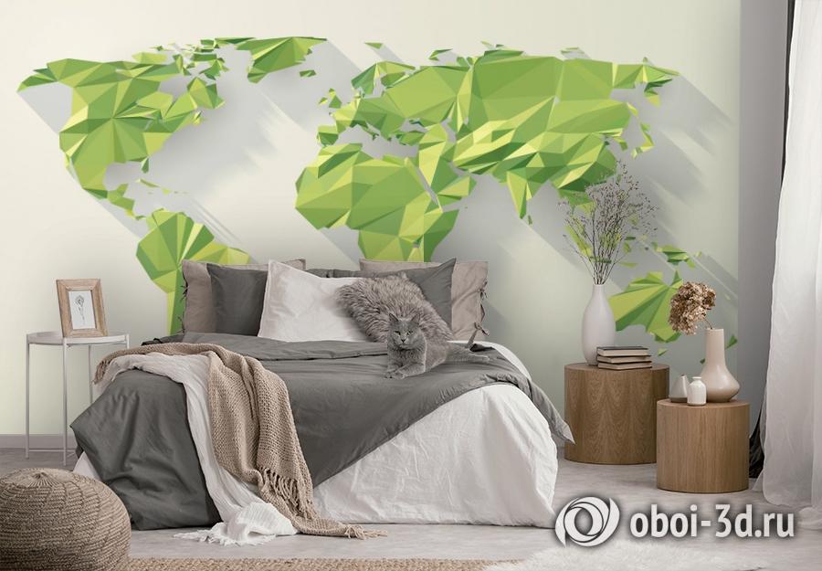 3D Фотообои «Зеленые континенты из полигонов» вид 4