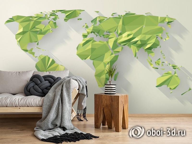 3D Фотообои «Зеленые континенты из полигонов» вид 2