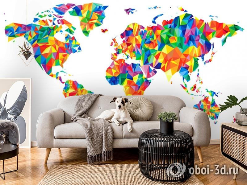3D Фотообои «Полигональная карта мира» вид 7