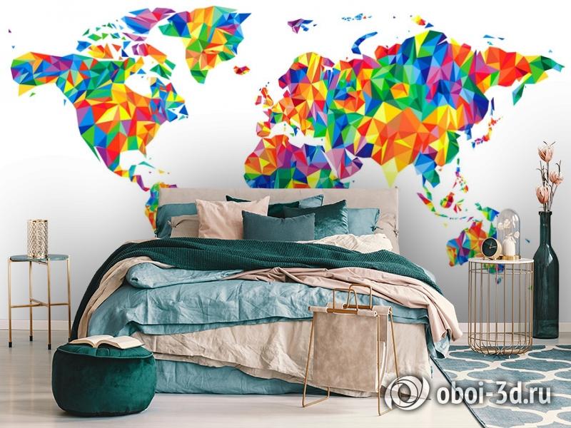 3D Фотообои «Полигональная карта мира» вид 6