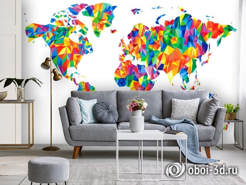 3D Фотообои «Полигональная карта мира» вид 3
