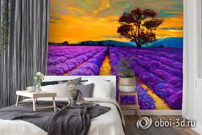 3D Фотообои  «Живопись: Лавандовое поле»  вид 7