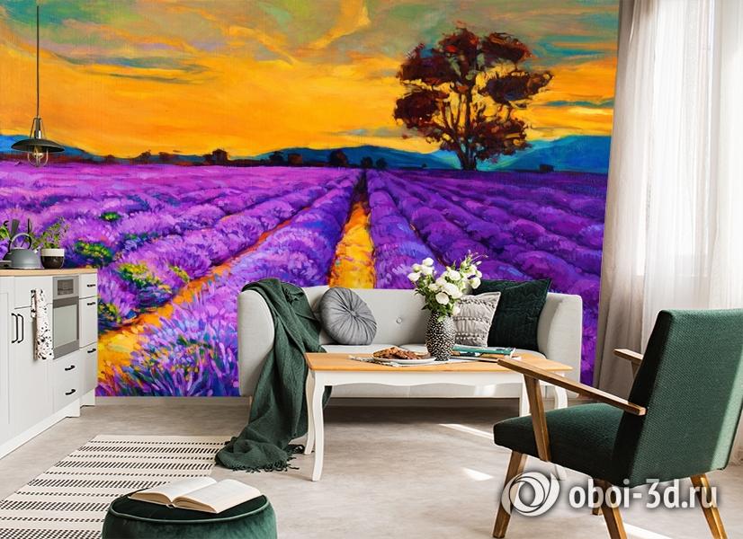 3D Фотообои  «Живопись: Лавандовое поле»  вид 6