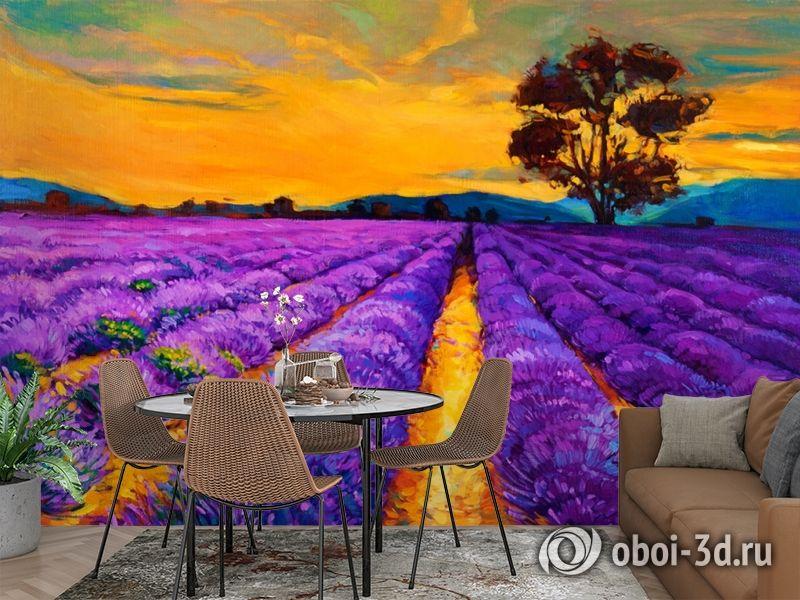 3D Фотообои  «Живопись: Лавандовое поле»  вид 2