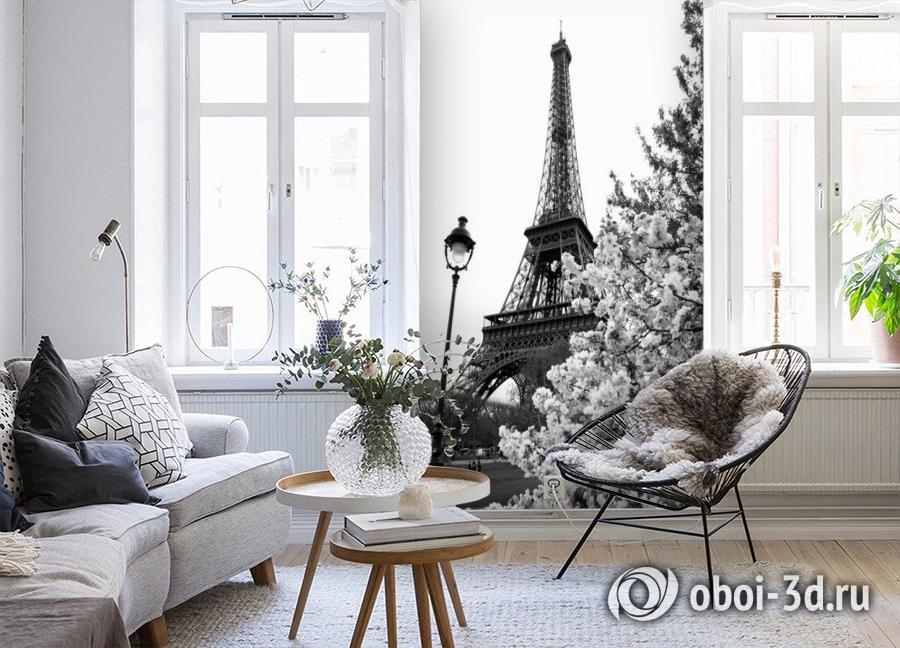 3D Фотообои «Цветущие деревья в Париже» вид 4