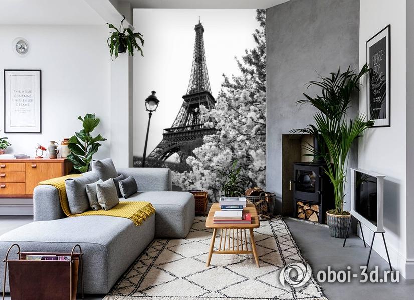 3D Фотообои «Цветущие деревья в Париже» вид 2