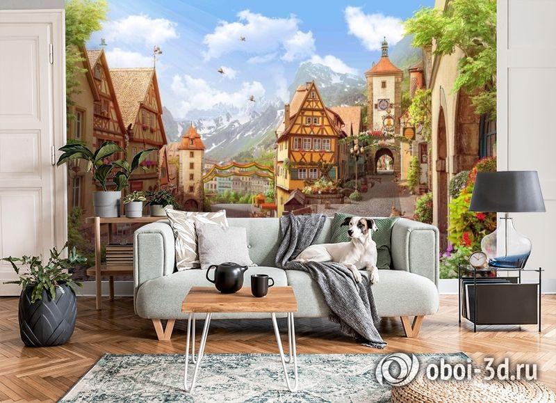 3D Фотообои «Цветущий городок» вид 6