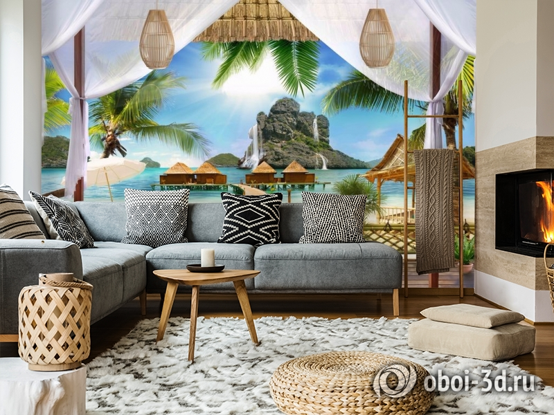 3D Фотообои «Тропическая терраса» вид 5