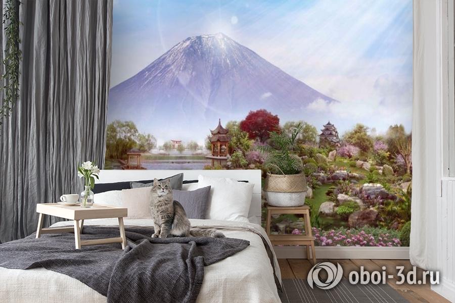 3D Фотообои «Японский сад с видом на Фудзияму» вид 7