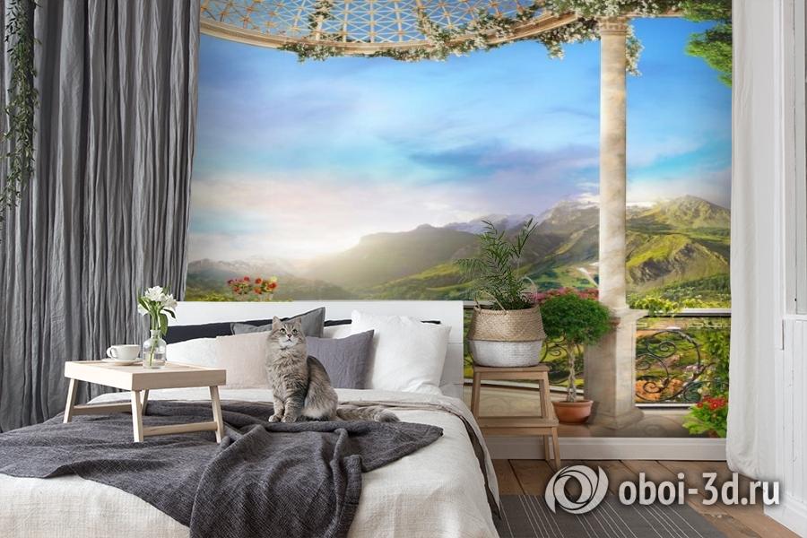 3D Фотообои «Балкон замка в горной долине» вид 7