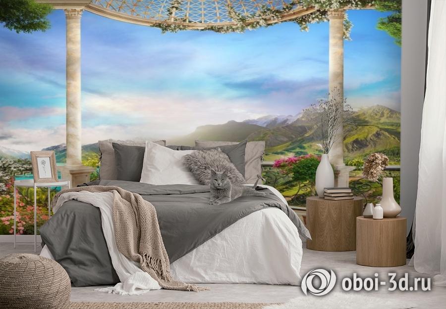 3D Фотообои «Балкон замка в горной долине» вид 2