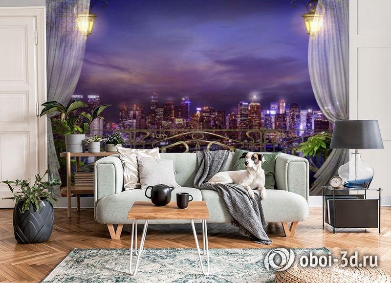3D Фотообои «Балкон с видом на ночной город» вид 6
