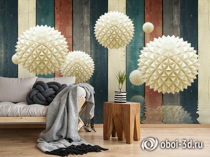 3D Фотообои «Колючие шары на древесном фоне» вид 2