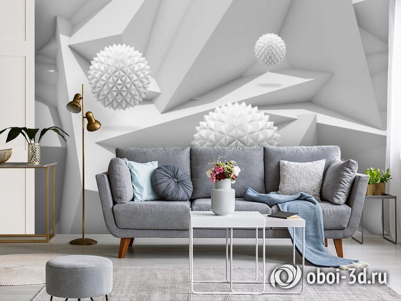 3D Фотообои «Колючие шары на объемном фоне» вид 4