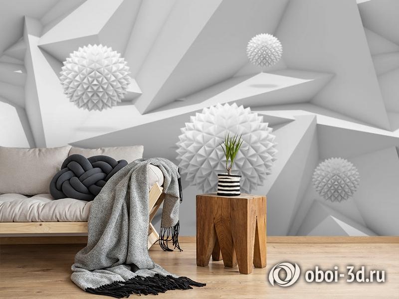 3D Фотообои «Колючие шары на объемном фоне» вид 2