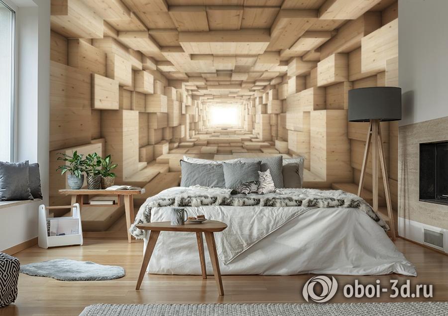 3D Фотообои «Тоннель из деревянных кубов» вид 7
