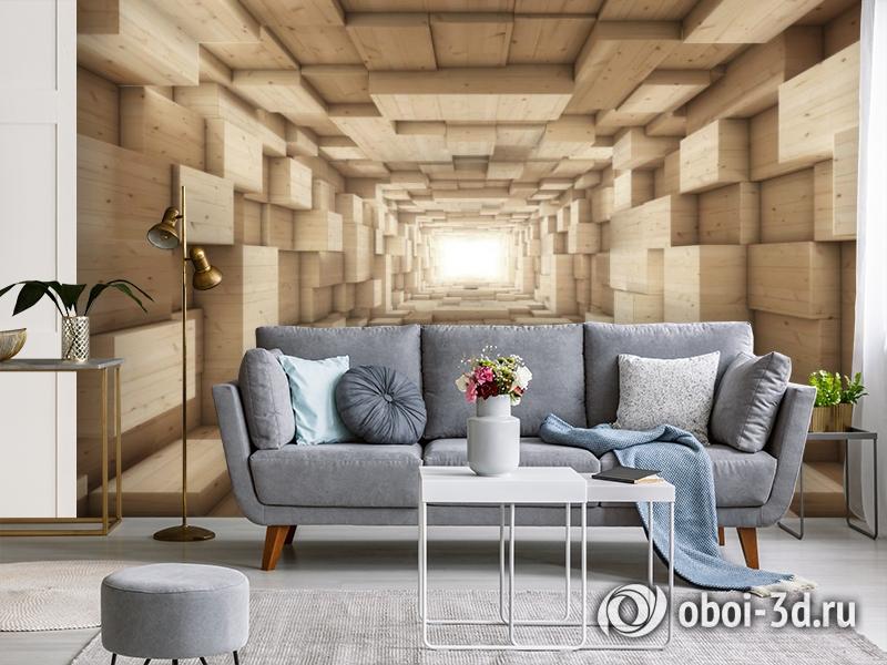 3D Фотообои «Тоннель из деревянных кубов» вид 4