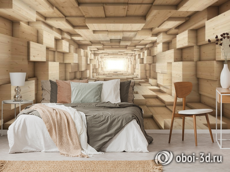 3D Фотообои «Тоннель из деревянных кубов» вид 3