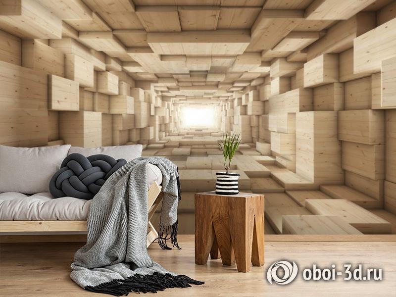 3D Фотообои «Тоннель из деревянных кубов» вид 2