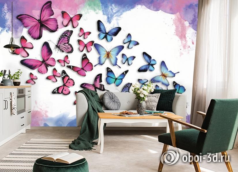 3D Фотообои «Красочные бабочки» вид 5
