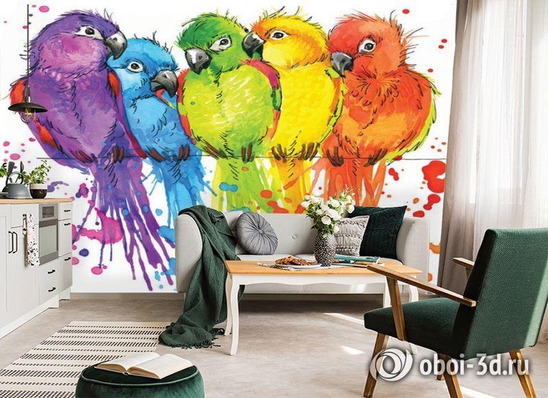 3D Фотообои «Яркие попугайчики» вид 5