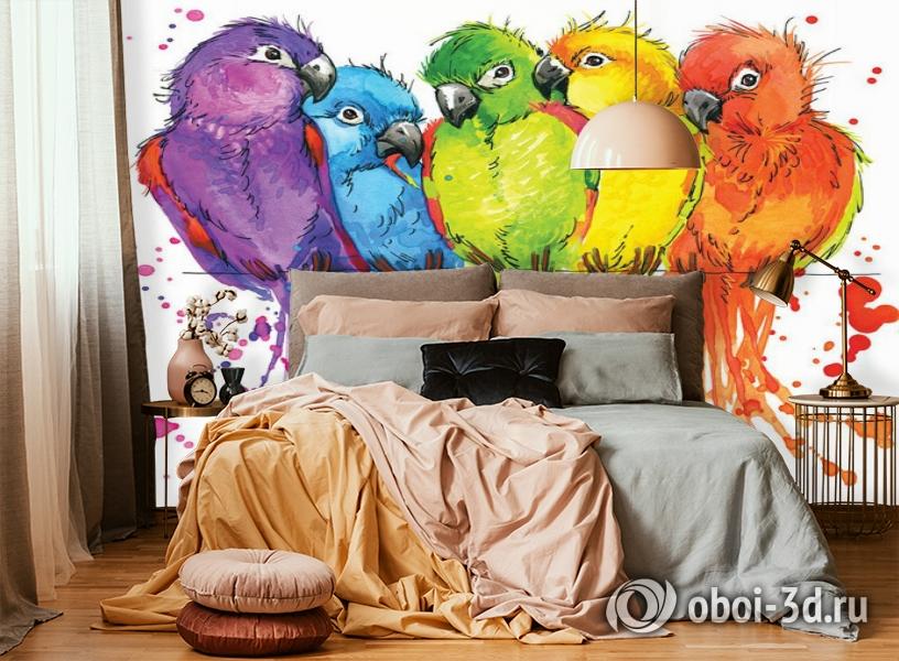 3D Фотообои «Яркие попугайчики» вид 4