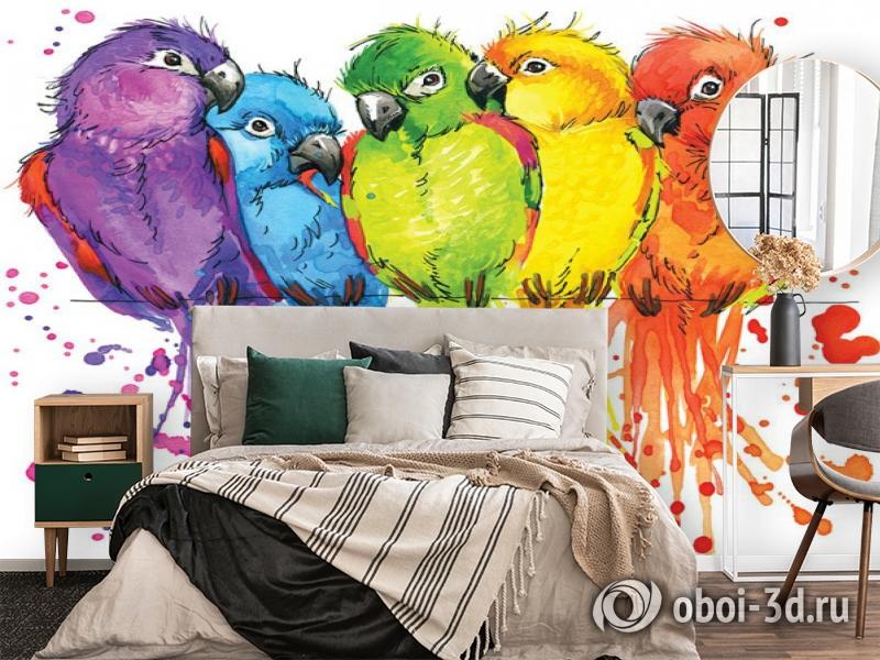 3D Фотообои «Яркие попугайчики» вид 2