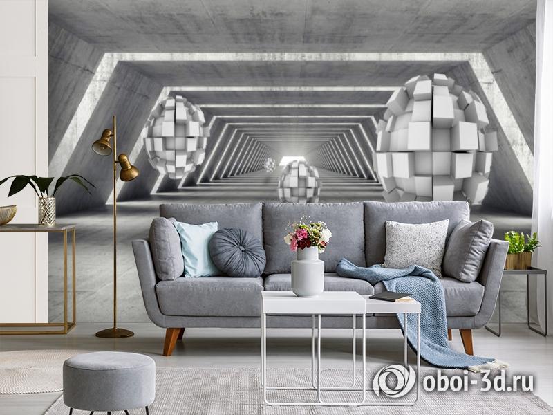 3D Фотообои «Футуристичный ангар с парящими сферами» вид 4