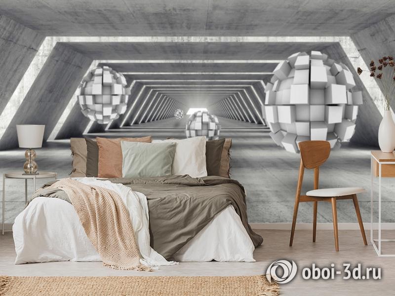 3D Фотообои «Футуристичный ангар с парящими сферами» вид 3