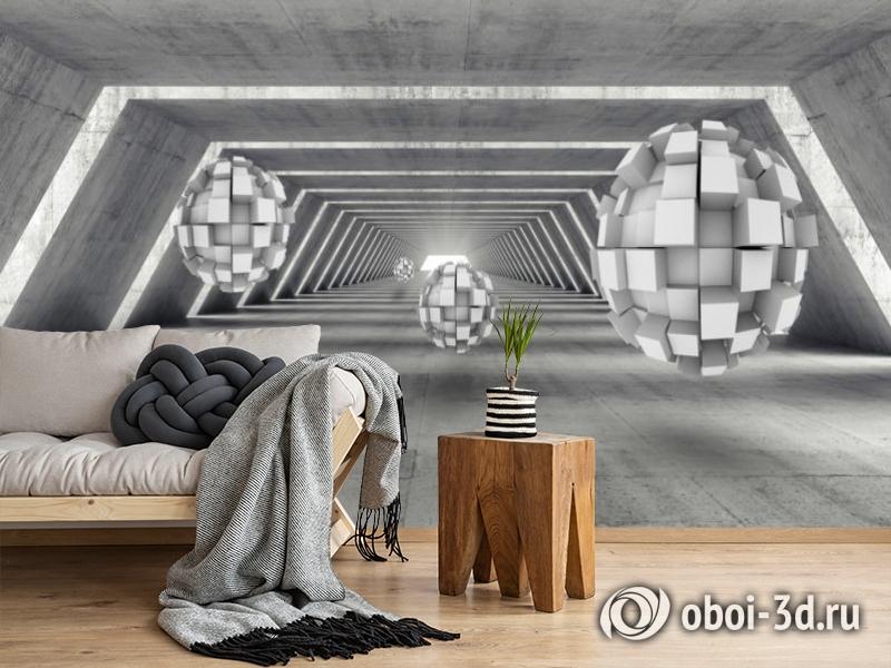 3D Фотообои «Футуристичный ангар с парящими сферами» вид 2