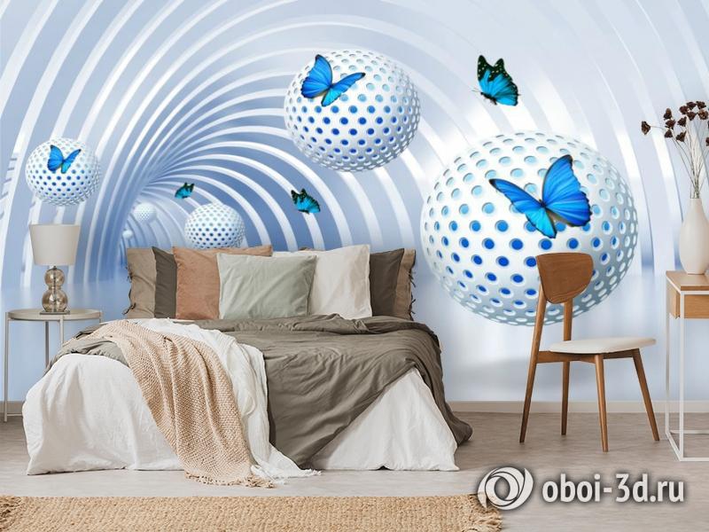 3D Фотообои «Футуристичный тоннель с бабочками» вид 3