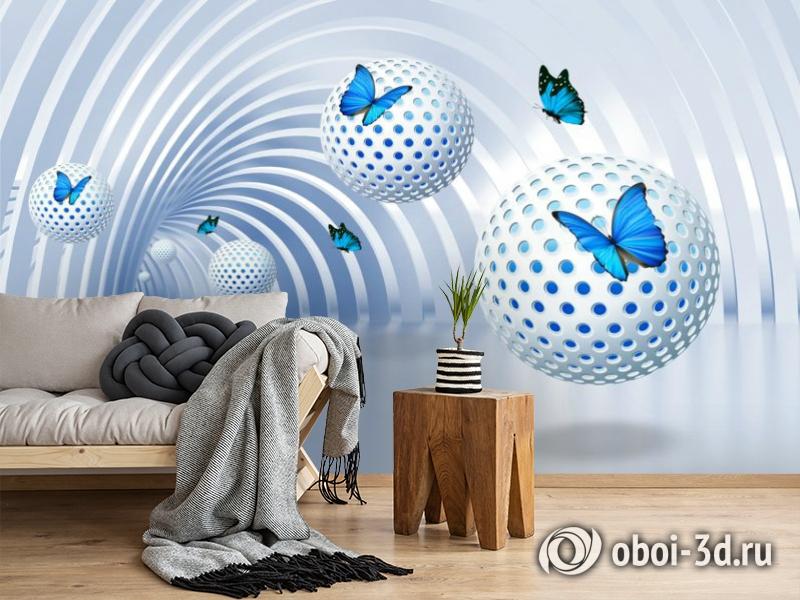 3D Фотообои «Футуристичный тоннель с бабочками» вид 2