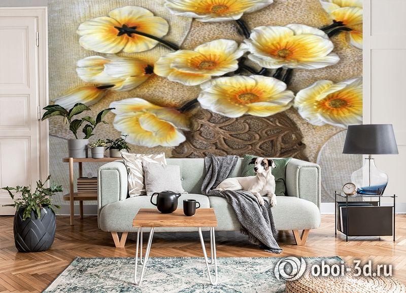 3D Фотообои «Объемная ваза с белыми маками» вид 8