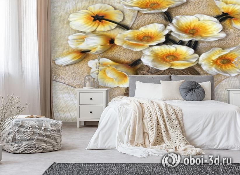 3D Фотообои «Объемная ваза с белыми маками» вид 6
