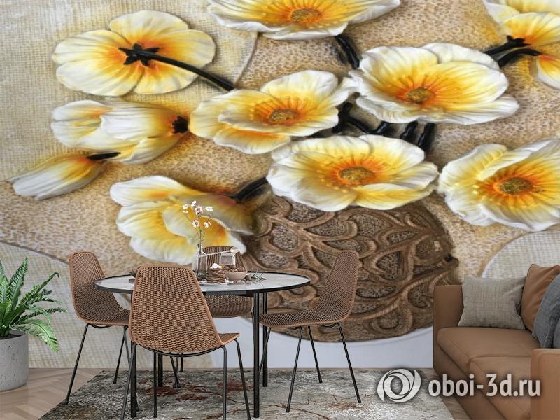 3D Фотообои «Объемная ваза с белыми маками» вид 3