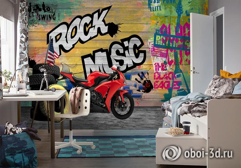 3D Фотообои «Красный мотоцикл в гараже» вид 4