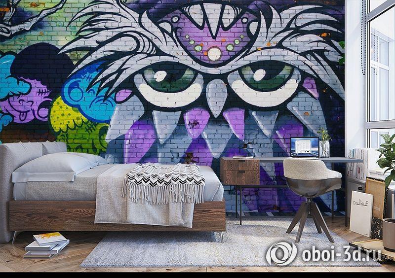 3D Фотообои «Граффити сова» вид 5