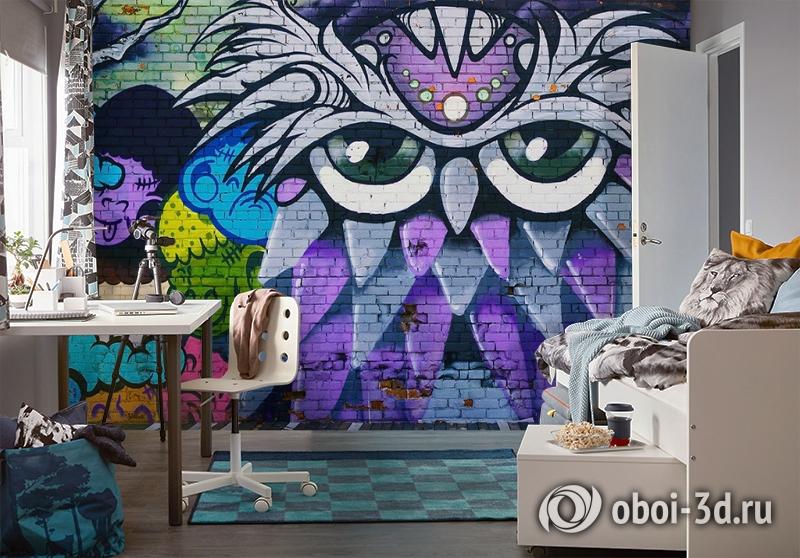 3D Фотообои «Граффити сова» вид 4