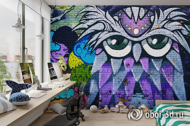 3D Фотообои «Граффити сова» вид 3