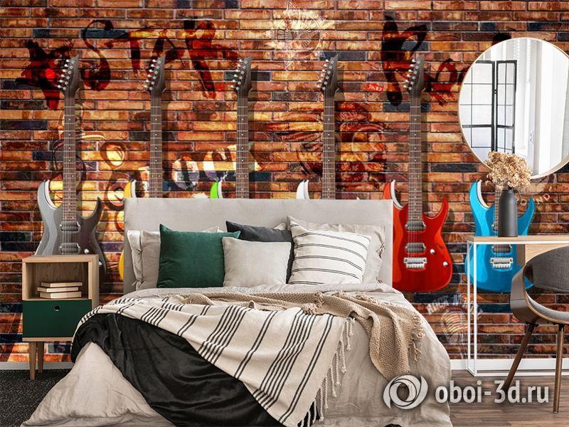 3D Фотообои «Лофт гитары» вид 4