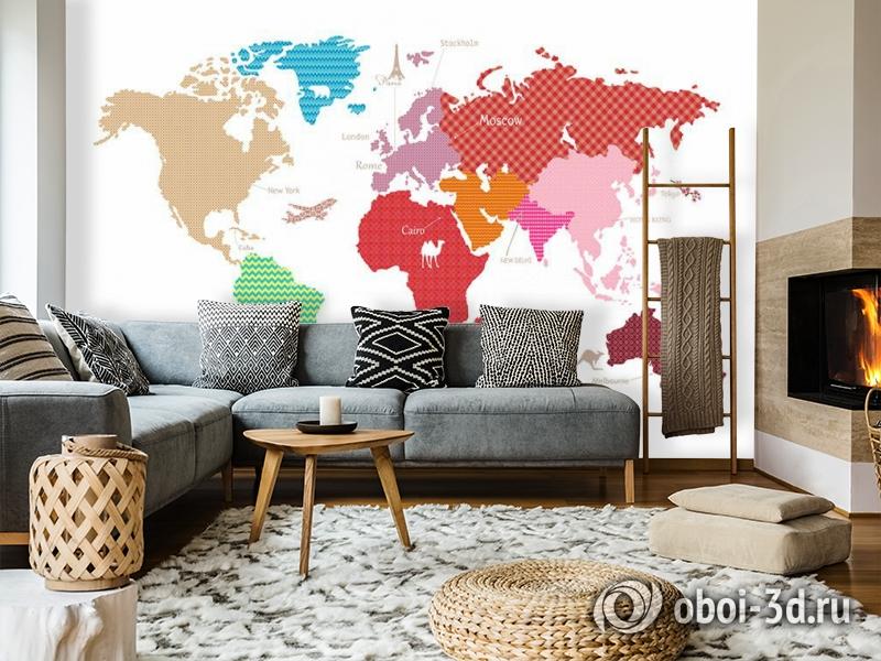 3D Фотообои «Карта континентов с узорами» вид 7