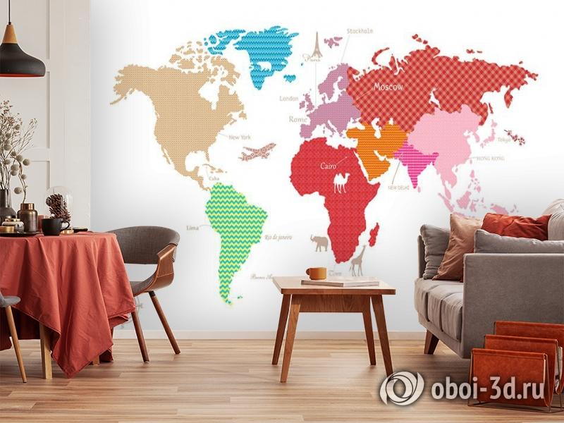 3D Фотообои «Карта континентов с узорами» вид 5