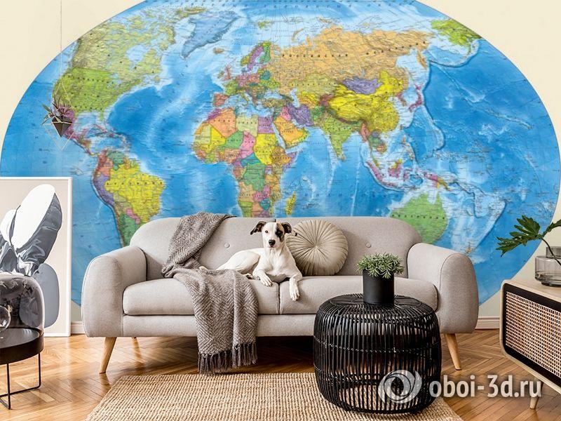 3D Фотообои «Мир политическая карта» вид 6