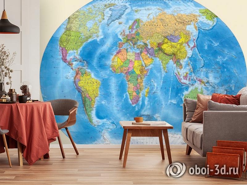 3D Фотообои «Мир политическая карта» вид 5