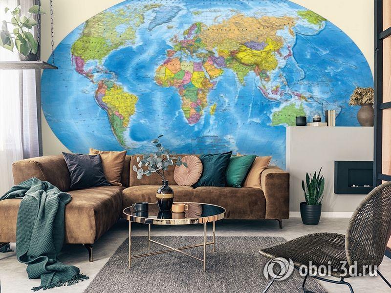 3D Фотообои «Мир политическая карта» вид 3
