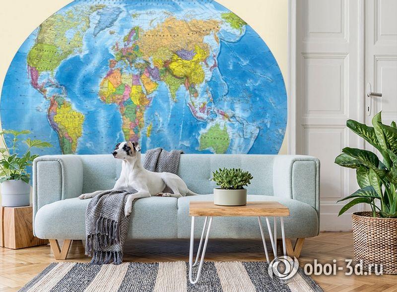3D Фотообои «Мир политическая карта» вид 2
