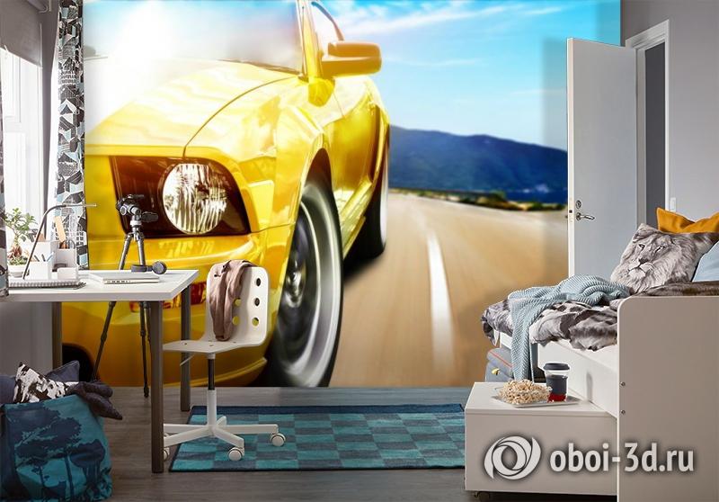 3D Фотообои «Быстрая желтая машина» вид 4
