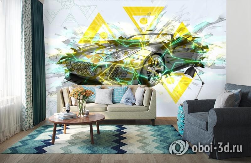 3D Фотообои «Кабриолет в абстрактном стиле» вид 6