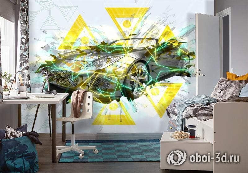 3D Фотообои «Кабриолет в абстрактном стиле» вид 4